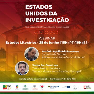 Webinar Estudos literários –  25 de junho 15h (PT) 16h (ES)