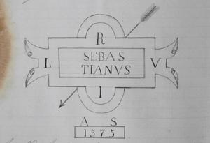 Desenho da marca de identificação do padrão de D. Sebastião, constante da documentação da Inspecção Geral de Pesos e Medidas do Distrito